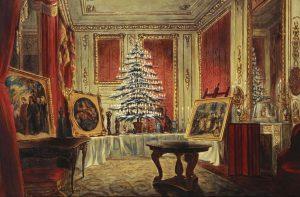 Peinture de Guillaume Corden qui montre l'arbre de Noël de la jeune Reine Victoria au Château Windsor, en 1850. Conservé au Royal National Trust.