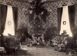 The Cleveland Family tree decorated with red, white and blue electric light bulbs, delighted the president's young daughters. It was placed in the second floor Oval Room of the White House in 1894.