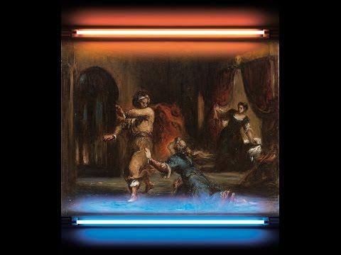 Eugène Delacroix et atelier, La chromatique des sentiments littéraires, Othello et Desdémone, huile sur toile et néon, 70 x 83 cm, © EHV.