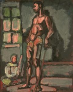 Georges Rouault, Le Modèle, souvenir d'atelier, huile, encre, gouache sur toile, H. 81,3 ; L. 65,1 cm, Collection particulière. © JL Losi © ADAGP Paris 2015