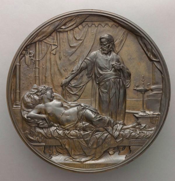 Émile Picault, Othello et Desdémone, Médaillon uni-face en bronze, 1878, Paris, musée d'Orsay. © RMN-GP (Musée d'Orsay) / Stéphane Maréchalle