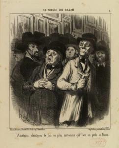 Photo : Honoré DAUMIER, Le Public du Salon 4. Amateurs classiques de plus en plus convaincus que l'art est perdu en France, 1852, estampes, 37,5x26 cm, Paris, Musée Carnavalet. © Musée Carnavalet