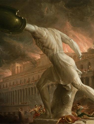 Affiche de l'exposition, détail de Thomas Cole (1801-1848), Le Destin des empires. La Destruction, 1836, huile sur toile. New York, collection de la New York Historical Society © The New York Historical Society.