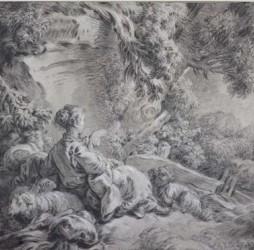 Bergère assise près d'un arbre avec son troupeau de moutons et un chien, vers 1770, pierre noire et rehauts de blanc sur papier beige, Vienne, Albertina © Albertina Museum, Vienne