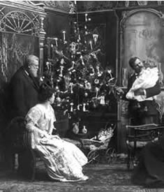 What is a home without love ? circa 1900, shows a tree with lighted candles. Photo: Prints and Photographs Division, Library of Congress.