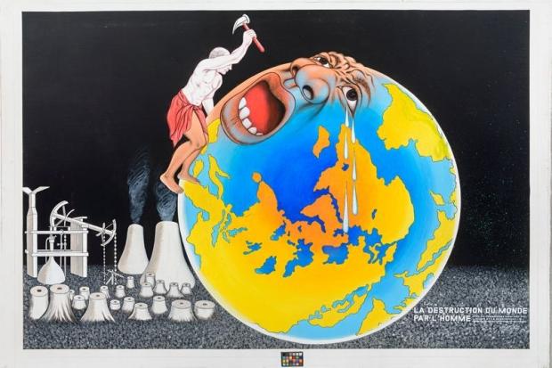 Chéri Samba (né en 1956), La Destruction du monde par l'homme, 2015, acrylique et paillettes sur toile. Paris, courtesy de la galerie MAGNIN-A © Kleinefenn / Courtesy Galerie MAGNIN-A, Paris © Chéri Samba.
