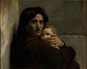 Léon Cogniet (1794-1880), Tête de femme et d'enfant, Esquisse pour la Scène du Massacre des Innocents, vers 1824, huile sur toile, Orléans, Musée des Beaux-Arts © Musée des Beaux-Arts