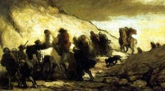 Honoré Daumier (1808-1879), Les Fugitifs, 1849-1850, huile sur bois. Paris, Petit Palais, musée des Beaux-Arts de la Ville de Paris © Petit Palais / Roger-Viollet.