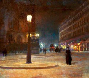 Éclairage au bec de gaz de la Place de l'Opéra à Paris, autour de 1892, par Ludwik de Laveaux (1868–1894)