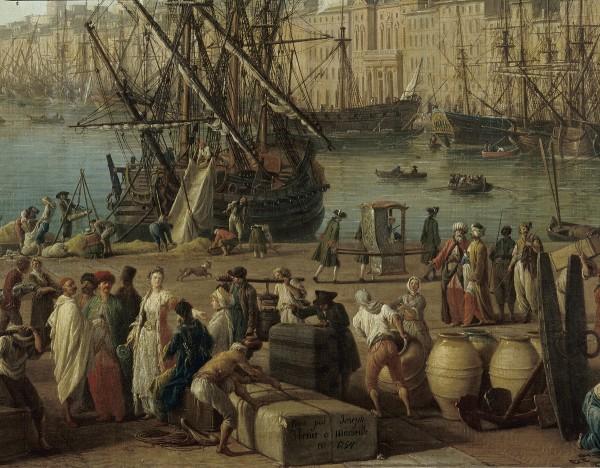 Joseph Vernet, L'Intérieur du Port de Marseille, vu du Pavillon de l'horloge du Parc, 1754, Huile sur toile, 165 x 263 cm. © Musée national de la Marine / P.Dantec