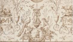Fontaine et animaux (modèle de toile de Jouy), vers 1803-1806, plume et encre brune, lavis brun et gris, rehauts de gouache sur papier, Paris, musée des Arts décoratifs, département des Arts graphiques © Les Arts décoratifs, Paris / Jean Tholance.