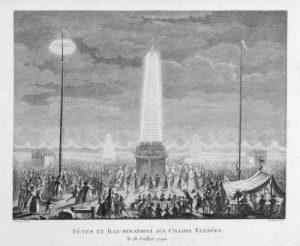 Fêtes et illuminations aux Champs-Élysées le 18 juillet 1790, Prieur, Armand Parfait, eau-forte, Musée Carnavalet, Histoire de Paris
