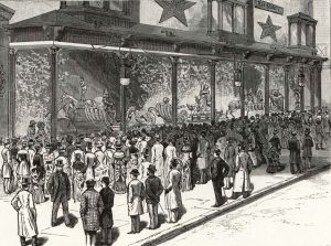 Eyeing a Christmas toy display in New York, circa 1910. Above: An early rendering of an animated display at R.H. Macy's in New York City, circa 1884