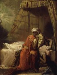 Théodore Chassériau, Othello étouffe Desdémone, 1849, Huile sur bois, 27 × 22 cm. © The Art Archive / Musée d'art et d'histoire, Metz / Gianni Dagli Orti.