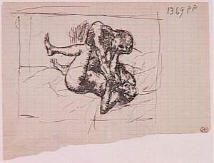 Pablo Picasso, La femme étranglée, 1902-1904, Stylo et encre sur papier, 16 x 21 cm. Musée Picasso, Paris.
