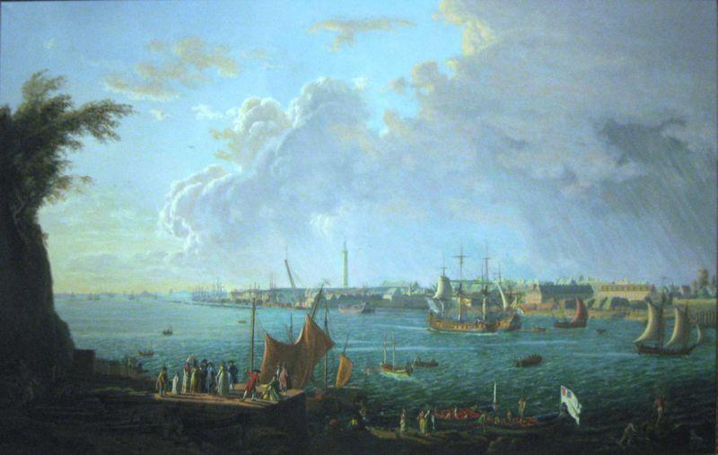 Pierre-Louis Ganne (d'après Jean-François Hué, fin du XVIIIe), Port de Lorient en 1972, 1965, huile sur toile, 117 x 176 cm.