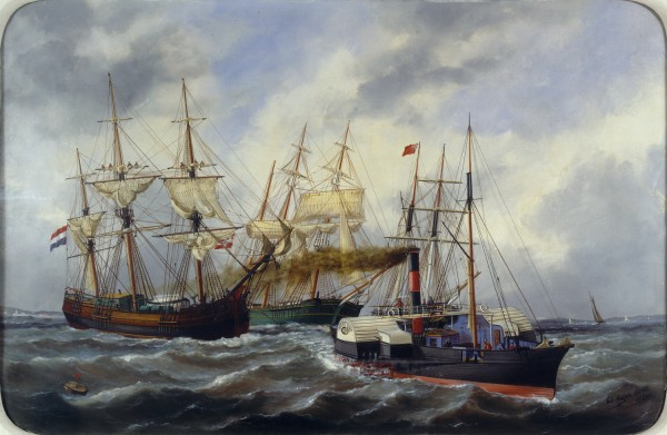 Edouard-Marie Adam, Navires entrant au Havre derrière un remorqueur, 1882, peinture à l'huile, 57 x 85 cm. © Musée national de la Marine / P.Dantec.