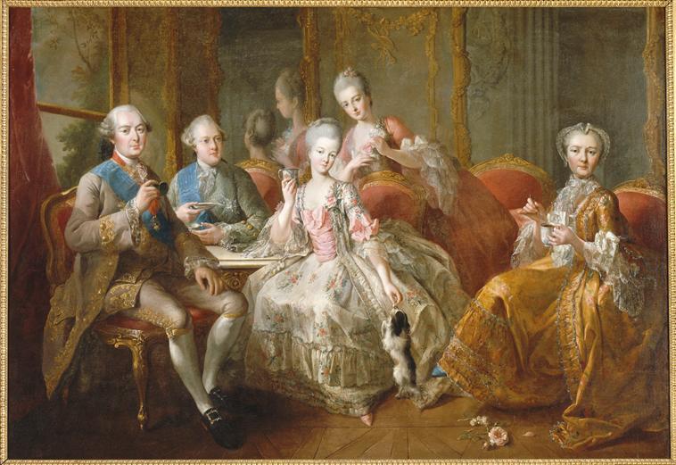 Jean-Baptiste Charpentier le vieux, La famille du duc de Penthièvre en 1768, dit La tasse de chocolat, n.d, huile sur toile, 177 x 255 cm. Photo © RMN-Grand Palais (Château de Versailles) / Gérard Blot.